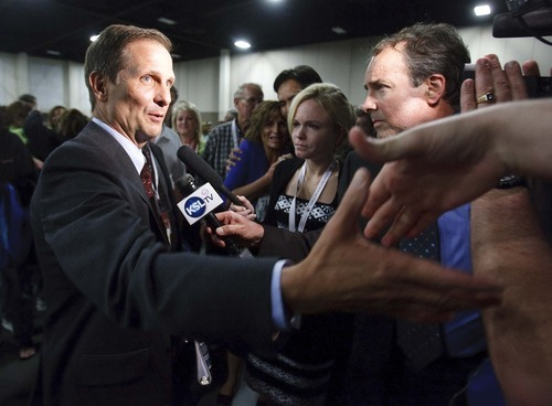 Leah Hogsten  |  Tribune file photo Last-minute allegations of dirty tricks threw Utah's 2nd Congressional District race into turmoil at the state Republican convention in April, where Chris Stewart emerged as the nominee. Four Republicans who allege he orchestrated a sham candidacy at the state party convention in April have filed a complaint.