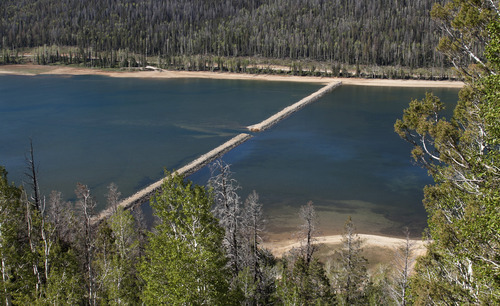 The dike at Navajo Lake in Dixie National Forest has recently breeched allowing water stored in the larger portion of the lake, to drain into the portion thats drains out to tributaries. County officials stated they are losing at least a foot of water a month and if repairs aren't made soon the lake may drain out completely. Asher Swan/ Daily News