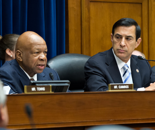 The House Oversight and Government Reform Committee, led by Chairman Darrell Issa, R-Calif., right, considers whether to hold Attorney General Eric Holder in contempt of Congress, on Capitol Hill in Washington, Wednesday, June 20, 2012. Rep. Elijah Cummings, D-Md., the ranking member, speaks at left. In a showdown with President Barack Obama's administration, House Republicans are pressing for more Justice Department documents on the flawed gun-smuggling probe known as Operation Fast and Furious that resulted in hundreds of guns illicitly purchased in Arizona gun shops winding up in the hands of Mexican drug cartels. (AP Photo/J. Scott Applewhite)