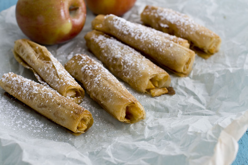 Phyllo dough helps give an all-American apple pie a lighter twist. (AP Photo/Matthew Mead)