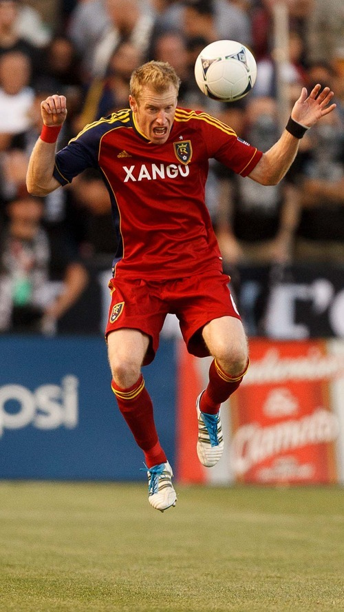 Trent Nelson  |  The Salt Lake Tribune RSL's Nat Borchers fields the ball as Real Salt Lake hosts the L.A. Galaxy at Rio Tinto Stadium on Wednesday, June 20, 2012, in Sandy.