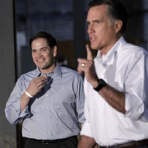 Jae C. Hong  |  The Associated Press Sen. Marco Rubio, R-Fla., left, joins former Massachusetts Gov. Mitt Romney for a news conference prior to a town hall-style meeting in Aston, Pa.,  April 23, 2012.