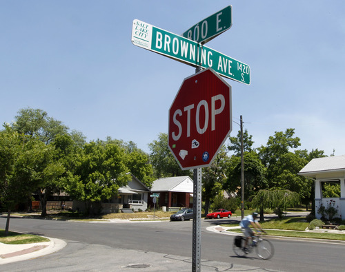 Al Hartmann  |  The Salt Lake Tribune   Bicyclist pedals along 800 East and Brwoning Avenue in Sugarhouse.  800 East is a designated bike route.  Matt Batt's new comic memoir,