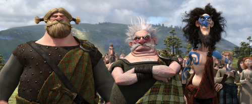 This film image released by Disney/Pixar shows characters from left, Lord MacGuffin, voiced by Kevin McKidd, Lord Dingwall, voiced by Robbie Coltrane and Lord MacIntosh, voiced by Craig Ferguson in a scene from