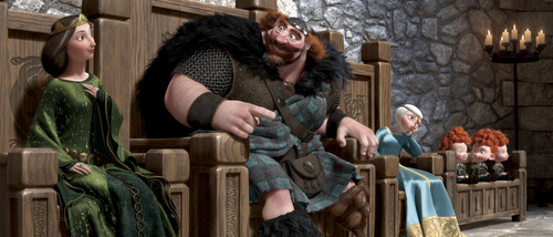 This film image released by Disney/Pixar shows characters, from left, Queen Elinor, King Fergus, Merida, and triplets Harris, Hubert and Hamish in a scene from