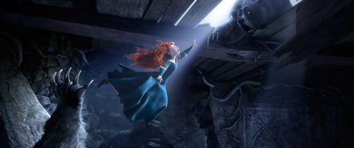 In this 2012 publicity image released by Disney/Pixar, Princess Merida, (voice by Kelly Macdonald), is shown flying in the 3D computer animated Disney/Pixar film,
