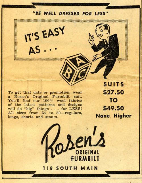 Rosen's suit ad. May 17, 1948