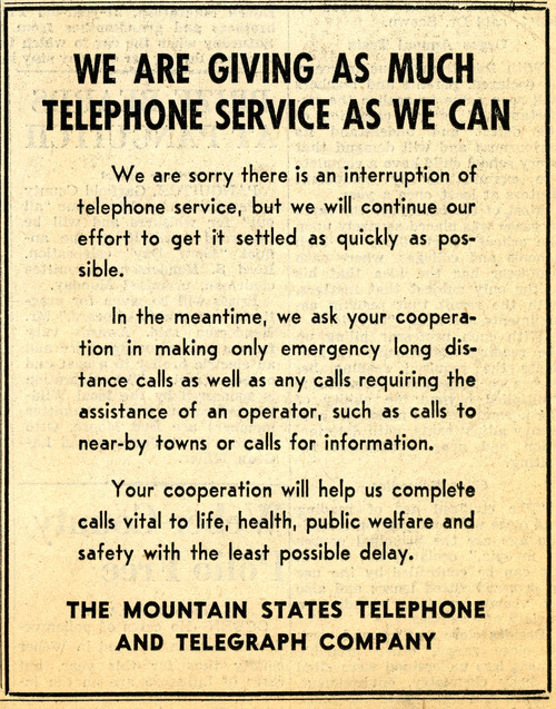Mountain States Telephone and Telegraph Company ad. April 8, 1947