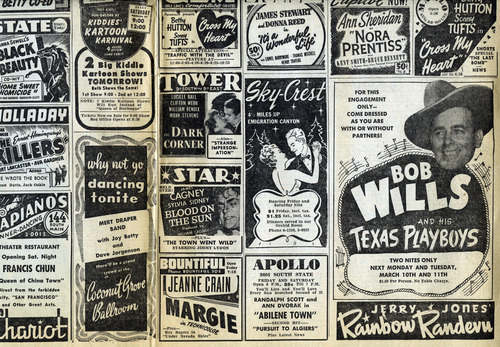 Movie and entertainment ads. March 7, 1947.