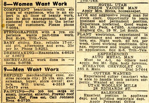 Tribune classified ads. July 25, 1947