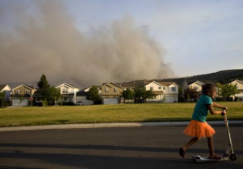 Kim Raff  |  The Salt Lake Tribune Smoke from the Dump Fire in Saratoga Springs-Eagle Mountain area in Saratoga Springs, Utah on June 22, 2012.
