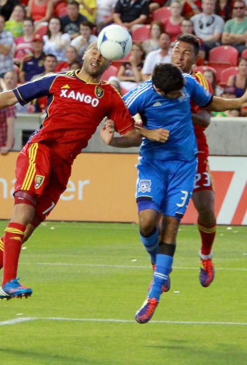 Real Salt Lake forward Alvaro Saborio tries to head in a goal against the San Jose Earthquakes in their 1-2 home loss in Rio Tinto Stadium in Sandy, Utah. Stephen Holt / Special to the tribune
