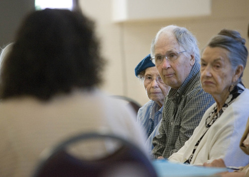 Paul Fraughton  |  The Salt Lake Tribune Eileen Ipson, Collin Betts and Mary Miller listens as Sarah Mogzec, of Valley Mental Health, left, back to camera, talks Wednesday, June 20, 2012, to seniors attending a class at The River Bend Senior Center. The theme of the class was,