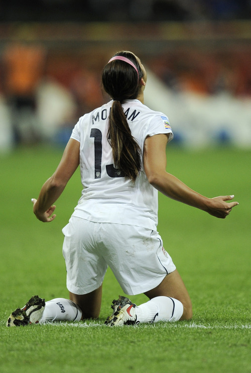 United States' Alex Morgan celebrates scoring the opening goal during the final match between Japan and the United States at the Women's Soccer World Cup in Frankfurt, Germany, Sunday, July 17, 2011. (AP Photo/Martin Meissner)