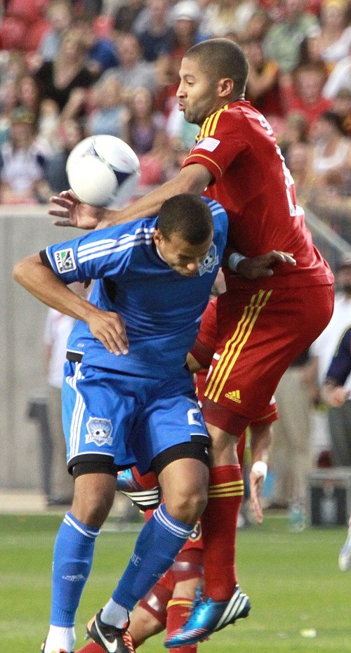 Real Salt Lake forward Alvaro Saborio fumbles a header during RSL's 1-2 loss against the San Jose Earthquakes in Rio Tinto Stadium in Sandy, Utah. Stephen Holt / Special to the tribune