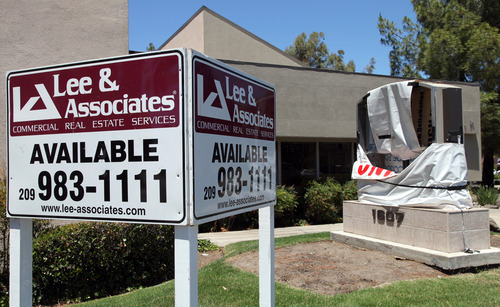 A commercial lot is available for rent Tuesday, June 26, 2012, in Stockton, Calif. Stockton officials continue to grapple with the city's financial plight, struggling to restructure millions of dollars of debt threatening to turn the city with the nation's second highest foreclosure rate into the largest American city to file for bankruptcy. (AP Photo/Ben Margot)