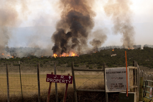 photo courtesy Kyle Kester  The Wood Hollow fire burns in Sanpete County on Sunday, June 24, 2012.