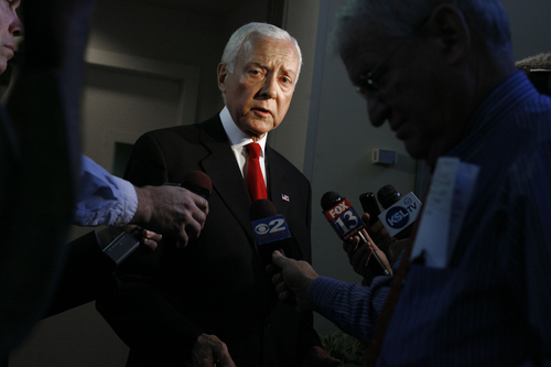 Utah Sen. Orrin Hatch speaks to reporters after participating in a debate with Dan Liljenquist at KSL in Salt Lake City, Utah,  on Friday, June 15, 2012. (AP PHOTO/Laura Seitz)