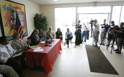 Francisco Kjolseth  |  The Salt Lake Tribune Leaders and supporters of the Hispanic community hold a press conference at Centro Civico Mexicano in Salt Lake City on Monday, June 25, 2012, to react to the U.S. Supreme Court ruling on the controversial Arizona Immigration Law.