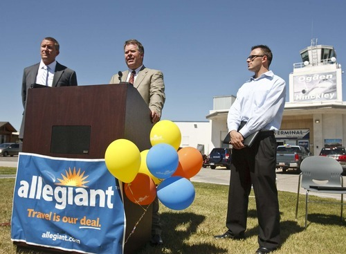 Leah Hogsten  |  The Salt Lake Tribune l-r Ogden Mayor Mike Caldwell, Ogden Airport manager Royal Eccles and Allegiant Air manager of airports Eric Fletcher fielded questions about Allegiant Air's plans to begin offering nonstop jet service between Ogden and the Phoenix-Mesa area this fall during a press conference  Wednesday, June 27, 2012 in Ogden.  The initial flights, which will operate twice weekly between Ogden Airport and the Phoenix-Mesa Gateway Airport, will begin on Sept. 20. and introductory fares are as low as $65.49 one way.