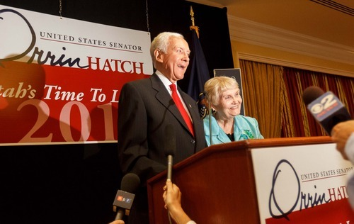 Trent Nelson  |  The Salt Lake Tribune With his wife Elaine at his side, Senator Orrin Hatch makes his victory speech on election night at the Little America Hotel in Salt Lake City on Tuesday, June 26, 2012.