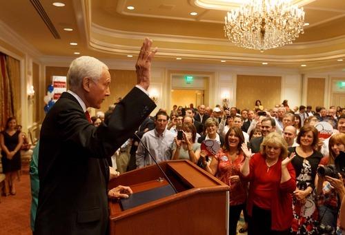 Trent Nelson  |  The Salt Lake Tribune Senator Orrin Hatch makes his victory speech on election night at the Little America Hotel in Salt Lake City, Utah, Tuesday, June 26, 2012.