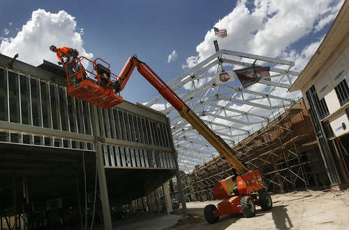 Scott Sommerdorf  |  The Salt Lake Tribune              The piece of steel with a flag attached is the