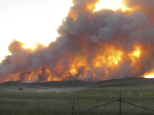The Wood Hollow Fire burns near Fairview, Utah, on Wednesday, June 26, 2012. Courtesy Darlene Mortensen