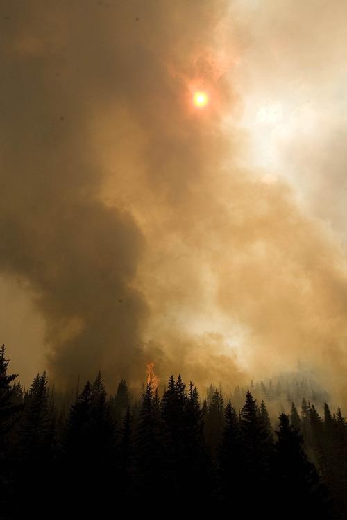 Paul Fraughton  |  The Salt Lake Tribune Fire rages Wednesday, June 27, 2012, in Huntington Canyon near Stuart Guard Station.