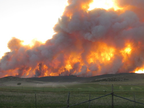 The 46,190-acre Wood Hollow Fire in Sanpete County is the largest burning in Utah. As of Thursday, it was just 20 percent contained. Authorities believe it was sparked on Saturday by a short-circuited Rocky Mountain Power utility pole compromised by copper thieves. Courtesy Darlene Mortensen