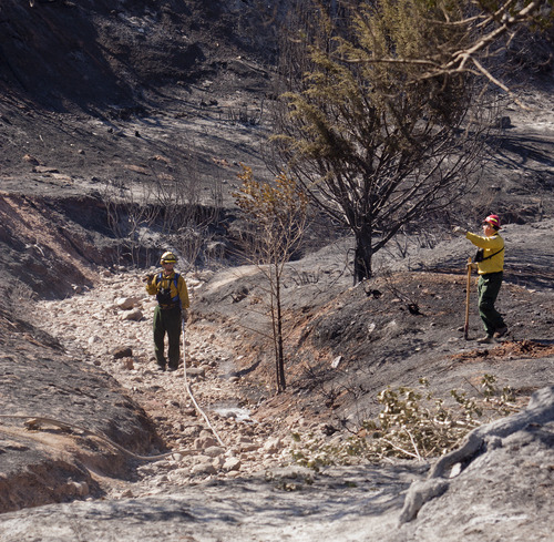 Kyle Kester  |  Special to The Salt Lake Tribune  Firefighters survey the damage near following a wildfire near New Harmony, Utah, Thursday, June 28, 2012.