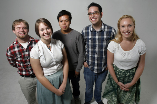 Scott Sommerdorf  |  The Salt Lake Tribune              The Salt Lake Tribune's new set of summer interns. From left to right: Michael Appelgate, Justina McCandless, Jack Wang, Brennan Smith, Dana Ferguson, Thursday, June 28, 2012.