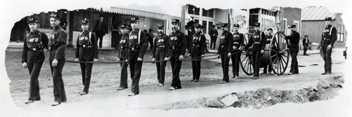 Tribune file photo  Mercur Fire Department in the early 1900s. In 1902, the town was destroyed by a fire.