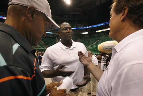 Scott Sommerdorf  |  The Salt Lake Tribune              Utah Jazz head coach Tyrone Corbin, center, speaks on the floor during an NBA draft party for fans at EnergySolutions Arena in Salt Lake City on Thursday, June 28, 2012.