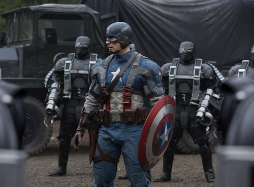 Captain America (Chris Evans) is surrounded by Hydra soldiers in