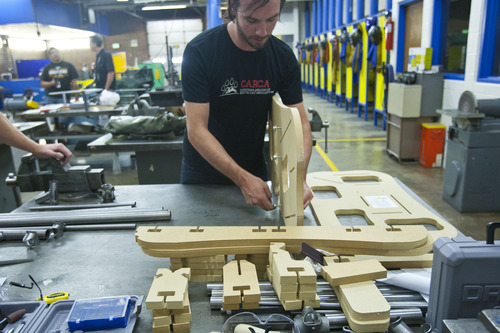 Chris Detrick  |  The Salt Lake Tribune Justin Semrau builds a frame jig during the bike frame building class offered by Granite Peaks Lifelong Learning at Taylorsville High School Tuesday June 26, 2012.