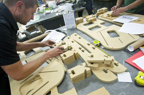 Chris Detrick  |  The Salt Lake Tribune Drew Shetrone builds a frame jig during the bike frame building class offered by Granite Peaks Lifelong Learning at Taylorsville High School Tuesday June 26, 2012.