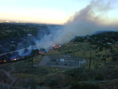 A brush fire is burning in the mouth of Ogden Canyon Tuesday morning. Courtesy Chris Medina