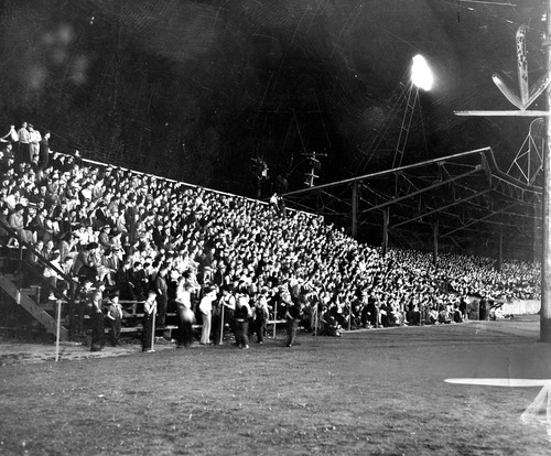 Tribune file photo  Fans fill the stands at Community Ball Park in 1939. The park was later rebuilt as Derk's Field. It is now the site of Spring Mobile Ballpark.