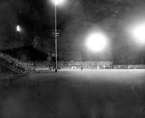 Tribune file photo  A night game is played at Community Ball Park in 1940. The park was later rebuilt as Derk's Field. It is now the site of Spring Mobile Ballpark.