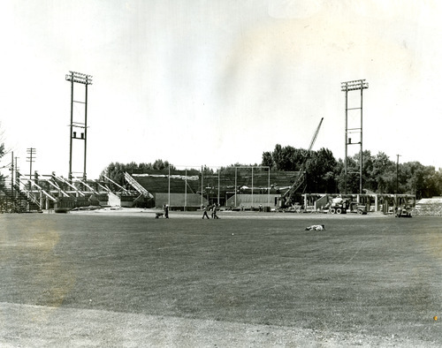 Tribune file photo Construction crews work to build Derks Field as seen in this 1947 photo. The ball park was quickly built to replace Community Ball PArk after it burned down a year earlier.