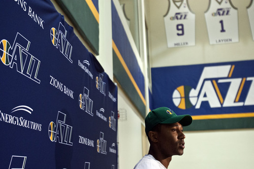 Chris Detrick  |  The Salt Lake Tribune Mo Williams is interviewed by members of the media at Zions Bank Basketball Center Tuesday July 3, 2012.