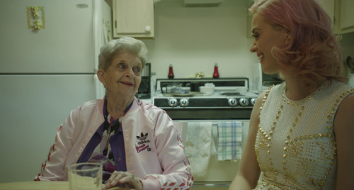 Pop star Katy Perry, right, visits her grandmother, Ann Hudson, in Las Vegas, in a scene from the documentary