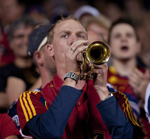 Michael Mangum  |  Special to the Tribune  A Real Salt Lake fan plays