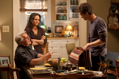 In this film image released by Sony Pictures, from left, Martin Sheen, Sally Field and Andrew Garfiled are shown in a scene from
