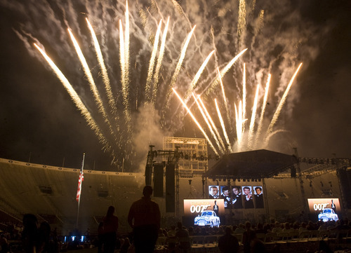 Kim Raff | The Salt Lake Tribune Stadium of Fire fireworks display at the LaVell Edwards Stadium in Provo, Utah on July 4, 2012.