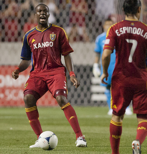 Michael Mangum  |  Special to the Tribune Newly acquired defender Kwame Watson-Siriboe of Real Salt Lake organizes the midfield during their match against the Seattle Sounders at Rio Tinto Stadium in Sandy, UT on Wednesday, July 4, 2012. The game ended in a 0-0 draw.