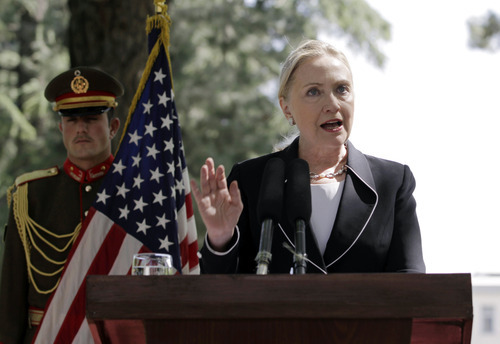 U.S. Secretary of State Hillary Rodham Clinton speaks during a joint press conference with Afghan President Hamid Karzai, not pictured, at the Presidential Palace in Kabul, Afghanistan, Saturday, July 7, 2012. Clinton announced that President Barack Obama had designated Afghanistan as a