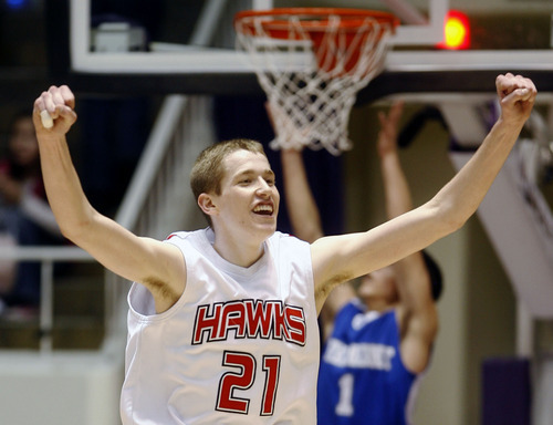 Steve Griffin  |  The Salt Lake Tribune  Salt Lake City -  Alta's Kyle Davis holds his fists in the air as the final horn sounds in Alta's victor over Fremont in the 5A semifinal basketball game  at the Dee Events Center in Ogden Friday Mar 5, 2010.