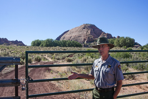 COBB CONDIE/Special to the Tribune  Zion National Park Superindendent Jock Whitworth stands in front of a 30 acre private holding within the park boundaries near Kolob Terrace Road.  Recent housing developments within the holdings have raised concerns about how to keep the park in its natural state while respecting private property rights.